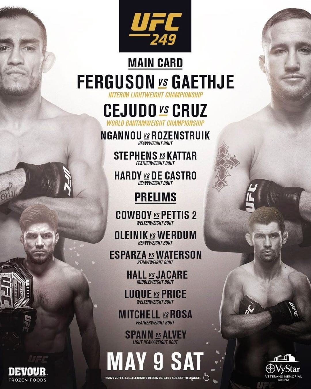 UFC 249 results poster
