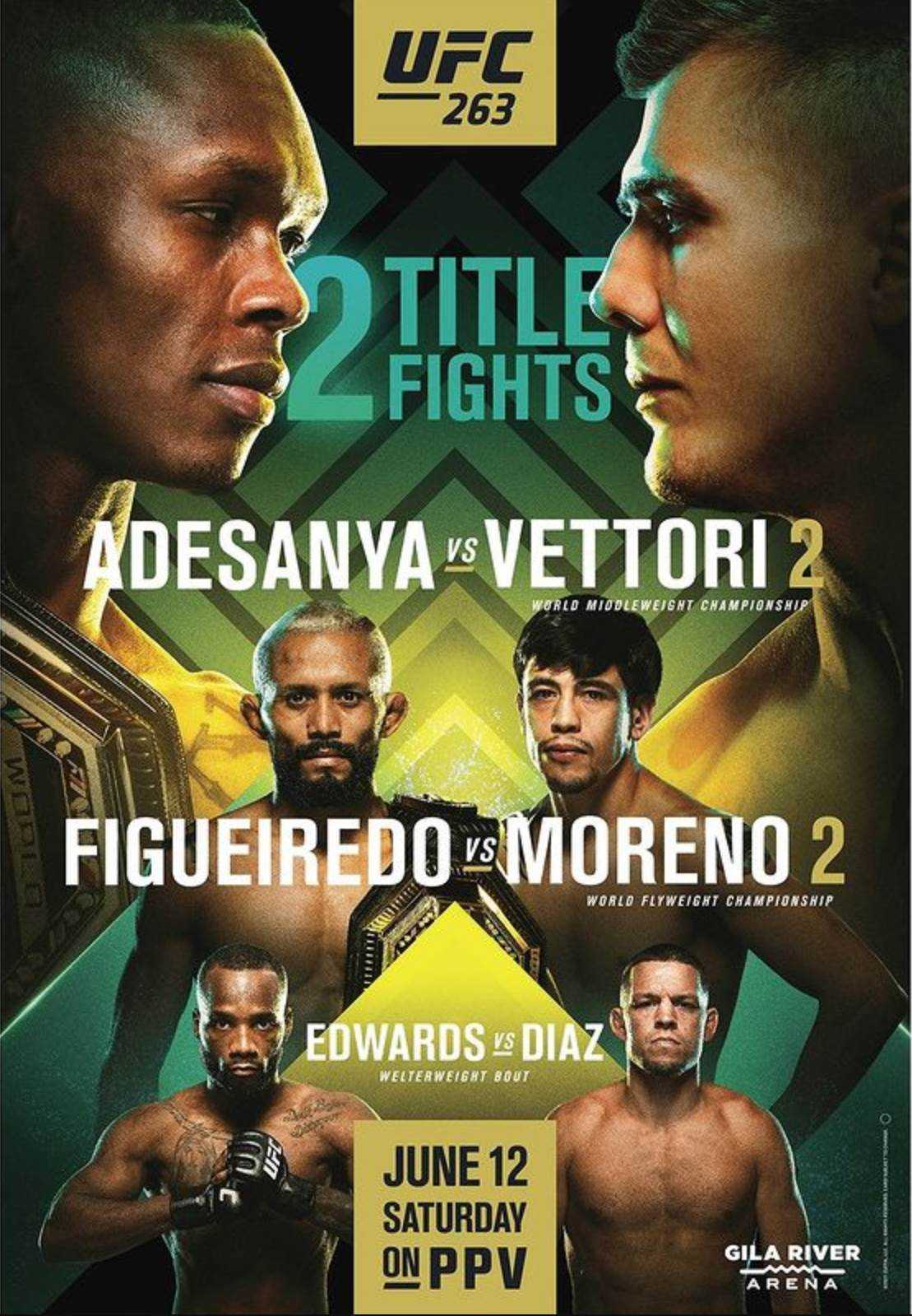 UFC 263 Fight Card Poster